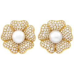 18 Karat Gold, South Sea Cultured Pearl and Diamond Flower Clip-On Earrings