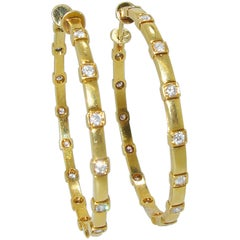 18 Karat and Diamond Large Hoop Earrings