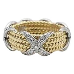 Tiffany & Co. Schlumberger Four-Row Rope Band Diamond Platinum and 18 Karat Gold