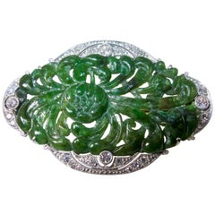 Dreicer & Co. Platinum, Jadeite Jade and Diamond Art Deco Brooch