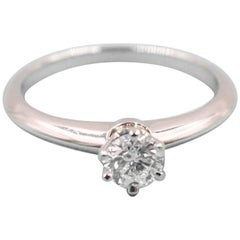 Tiffany & Co. Round Brilliant Diamond 0.28 Carat Platinum Engagement Ring Papers