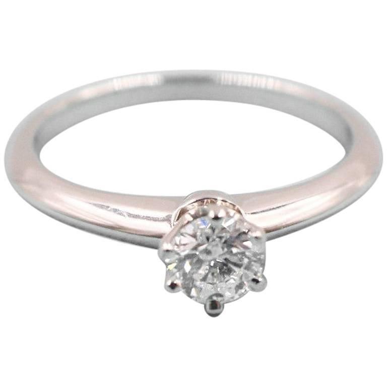Tiffany & Co. Round Brilliant Diamond 0.28 Carat Platinum Engagement Ring Papers