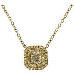 .76 Carat Fancy Yellow Diamond Pendant in 18 Karat Yellow Gold