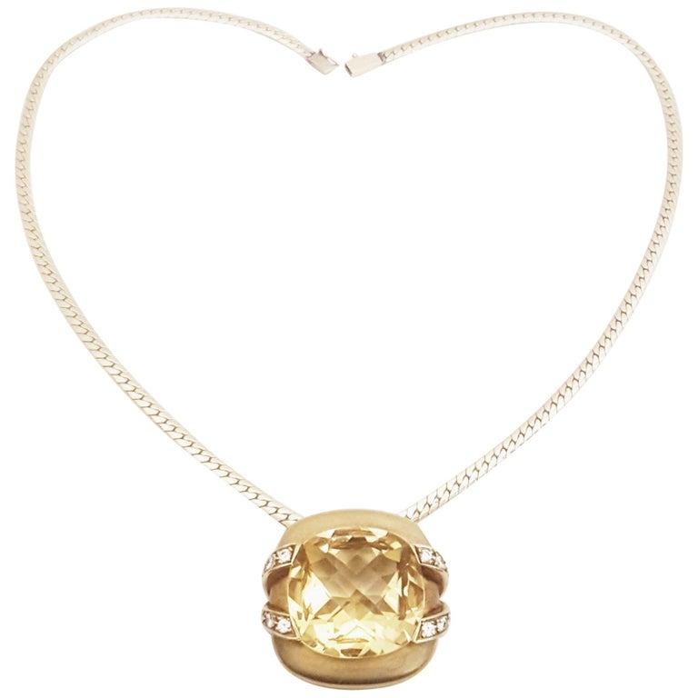 Marlene Stowe 18 Karat Diamond and Citrine Convertible Brooch/Pendant