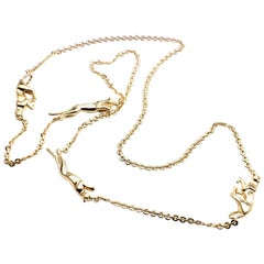 Cartier Four Panther Panthere Link Yellow Gold Chain Necklace
