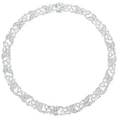 Modern 18 Karat White Gold, 8.50 Carat Diamond Carelle Florette Collar Necklace