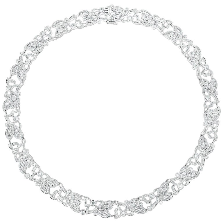 Modern 18 Karat White Gold, 8.50 Carat Diamond Carelle Florette Collar Necklace