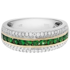 Tsavorite Garnet Diamond Three-Row Two-Color Gold Band Ring