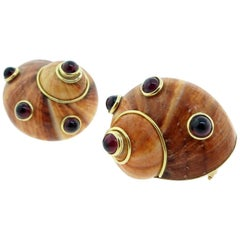 Maz 14 Karat Yellow Gold Natural Seashell and Garnet Earrings