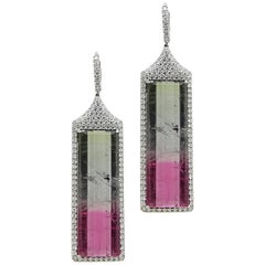 60.00 Carat Watermelon Tourmaline and Diamond Platinum Earrings