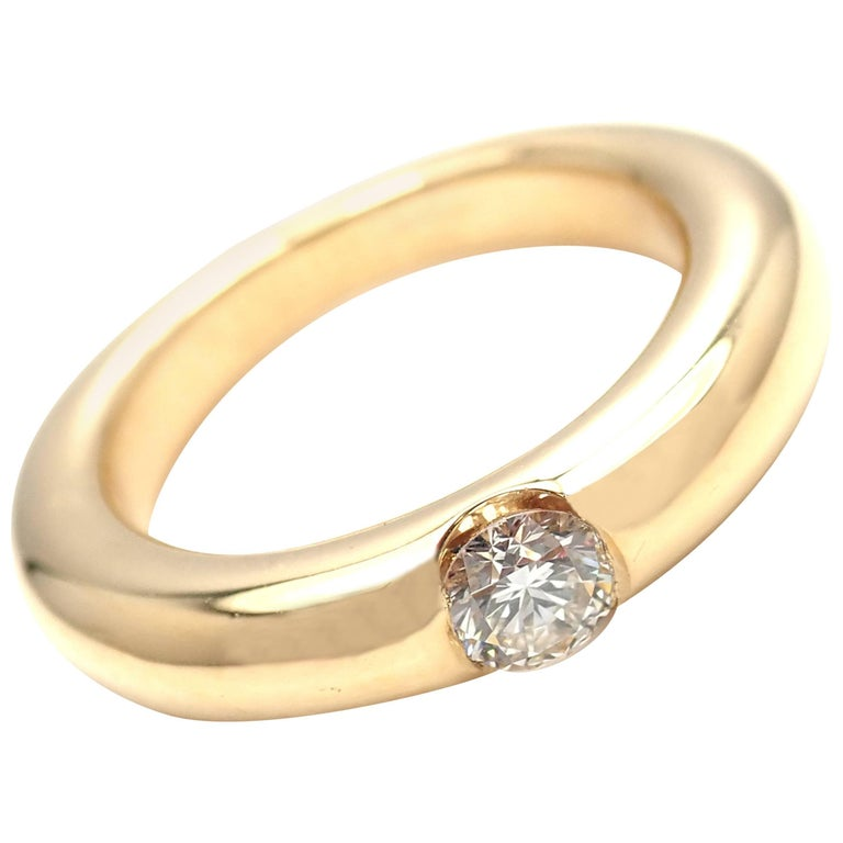 Cartier Ellipse Diamond Yellow Gold Band Ring