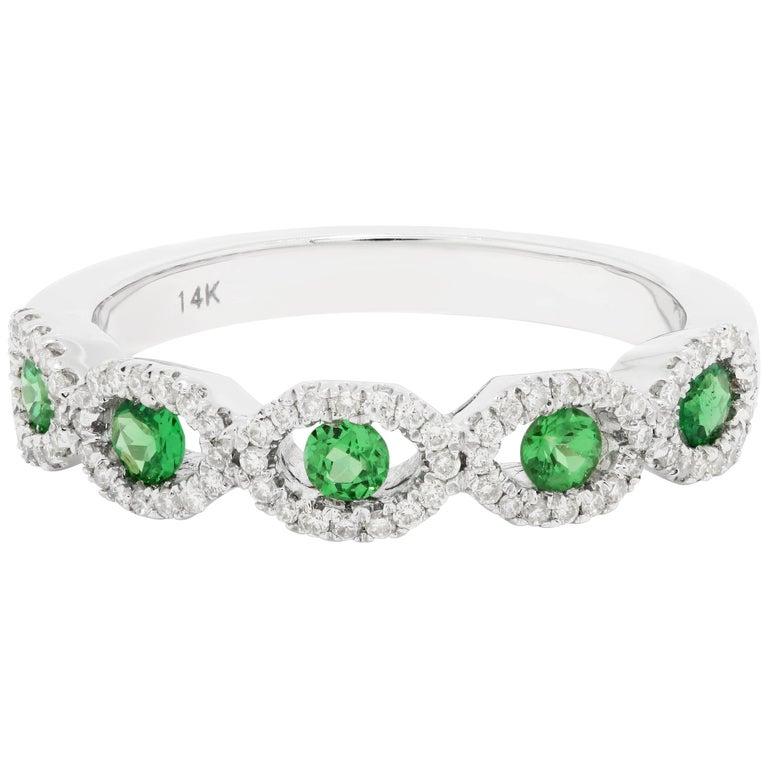 Tsavorite Garnet Diamond Gold Band Ring