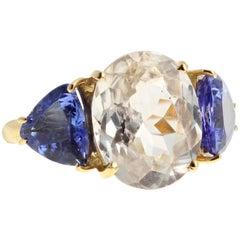 Zircon and Tanzanite 18 Karat Gold Ring
