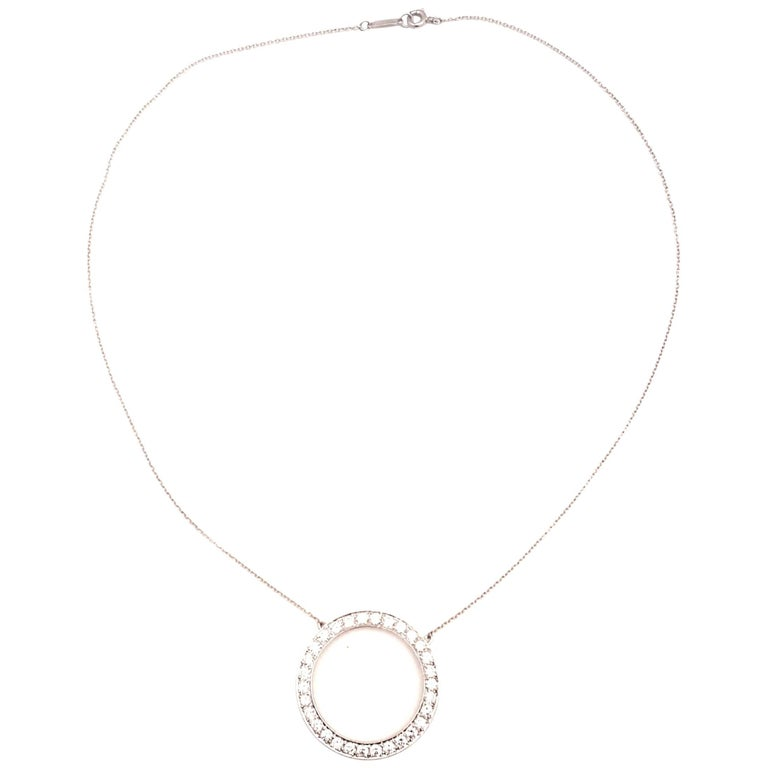 Tiffany & Co. 1950s Platinum Diamond Eternity Circle Necklace