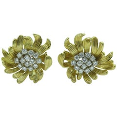Pair of Gold and Diamond Flower Earrings