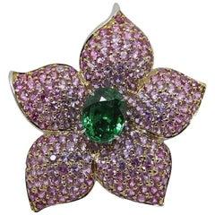 Platinum Tsavorite Garnet and Sapphire Floral Ring