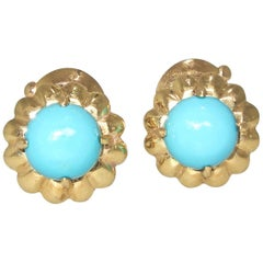 Van Cleef & Arpels France Persian Turquoise Gold Earrings