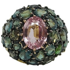 Padparadscha Sapphire and Alexandrite Yellow Gold Ring