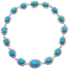 Van Cleef & Arpels Turquoise Diamond Platinum Choker Necklace