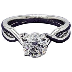 Heart on Fire Round 1.23 ct Diamond & Platinum Twist Solitaire Engagement Ring