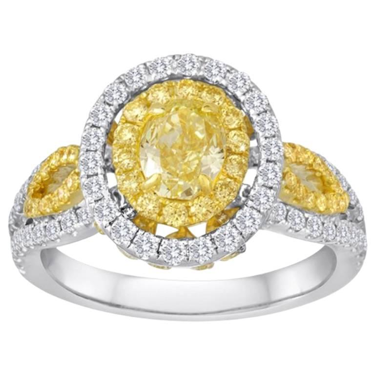 Certified Fancy Yellow Oval 0.80 Carat Double Halo Two-Color Gold Ring