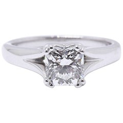 Hearts on Fire Square Dream Cut 1.130 Carat D SI1 Diamond Engagement Ring