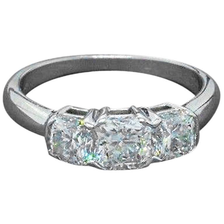 Hearts on Fire Square Dream Cut 1.45 Carat Diamond Ring 18 Karat White Gold