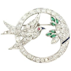 Art Deco White Gold Diamond Bird and Flower Brooch