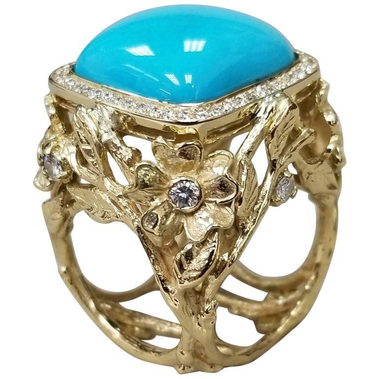 "18 Karat Yellow Gold ""Arizona"" Turqusoie and Diamond Ring"