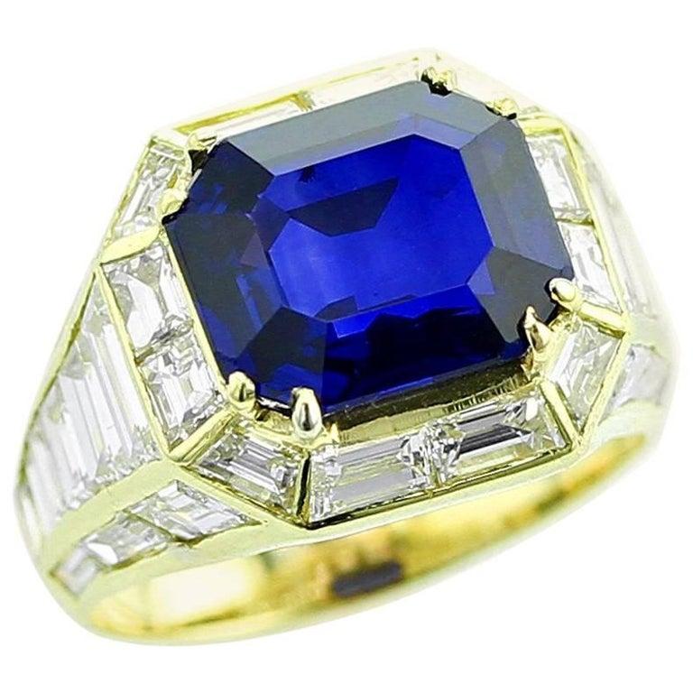 Natural No Heat Burma Sapphire and Diamond Yellow Gold Ring