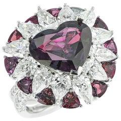 6 Carat Natural Heart-Shaped Brazilian Alexandrite and Diamond Ring