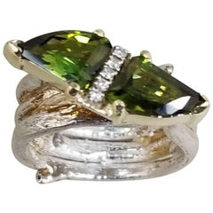 "14 Karat Yellow Gold and Silver ""Bark"" Ring with Green Tourmaline"
