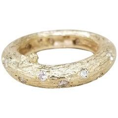 14 Karat Yellow Gold Bark and Diamond Ring