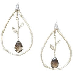 14 Karat Yellow Gold Diamond and Brown Topaz Earrings
