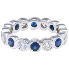 Sapphire Diamond Eternity Ring Estate 18 Karat White Gold