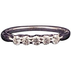 Hearts on Fire Round Diamond Five Stone Wedding Band Ring 18k White Gold 0.25TCW