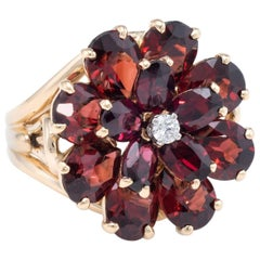 Garnet Diamond Flower Cocktail Ring Vintage 14 Karat Yellow Gold