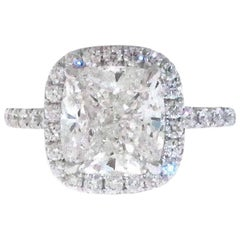 3.01 GIA Certified G-VVS1 Cushion Cut Diamond Halo Engagement Ring, Platinum Set