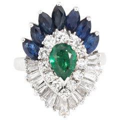 Convertible Emerald Sapphire Diamond Cocktail Ring Vintage Platinum Pendant