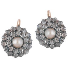 Pair of Natural Pearl and Diamond Cluster Earrings