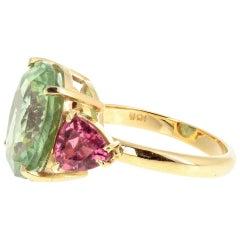 Tourmaline and Tourmaline 18 Karat Gold Ring