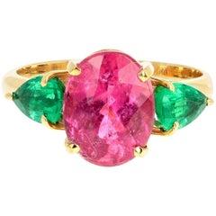 2.7 Carat Tourmaline and Emerald 18 Karat Yellow Gold Ring