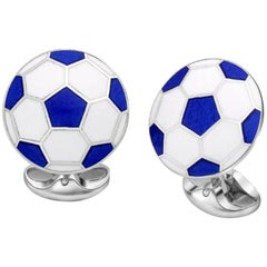 Deakin & Francis Sterling Silver White and Blue Football Cufflinks