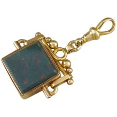 Antique Pocket Watch Fob, Cornelian, Bloodstone Yellow Gold, Birmingham, 1919