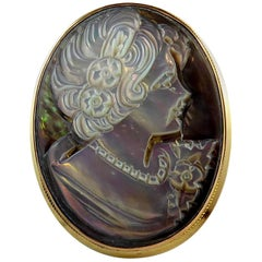 Vintage Abalone Shell Cameo Brooch or Pendant, 1994