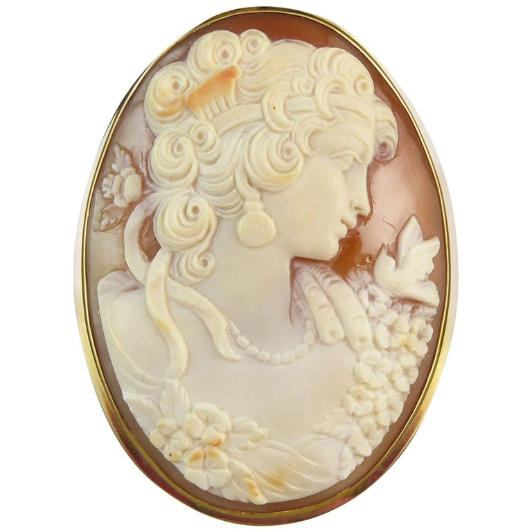 Vintage Carved Shell Cameo Brooch/Pendant, Yellow Gold Surround, Edinburgh, 2001