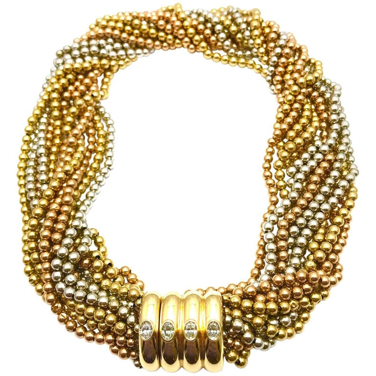 Oval Diamond and Rose White and Yellow Gold Bead Link Necklace