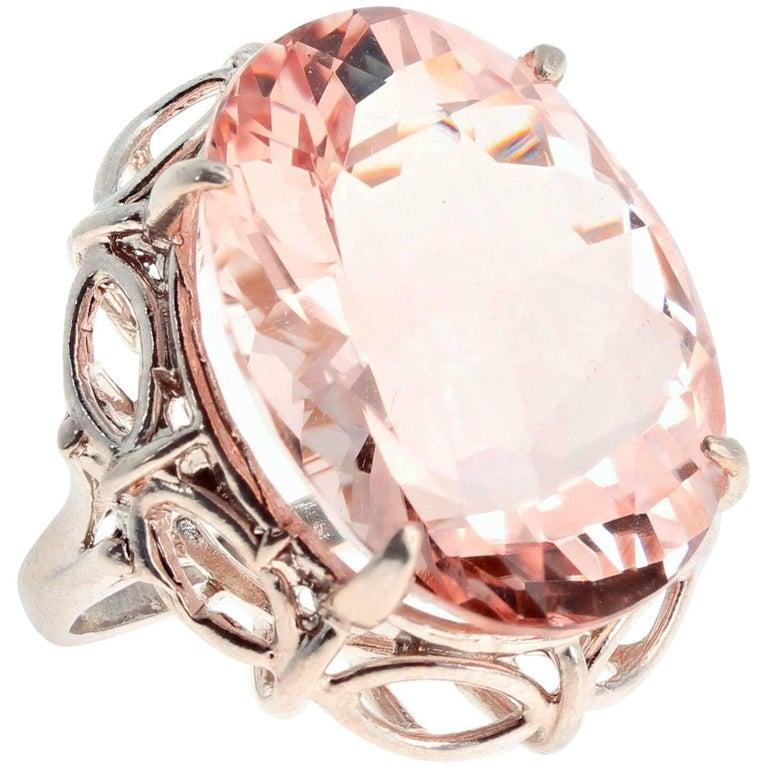 30 Carat Morganite Sterling Silver Ring