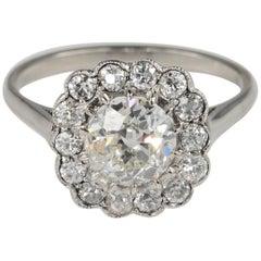 Art Deco 1.60 Carat Diamond Cluster Engagement Platinum Ring
