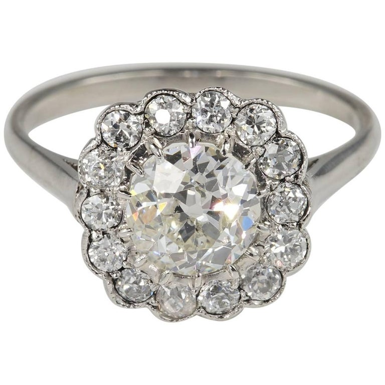 Art Deco 1.60 Carat Diamond Cluster Engagement Platinum Ring